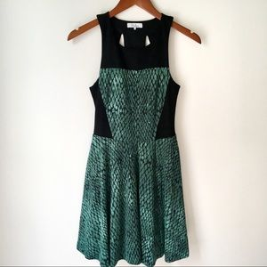 Parker Snakeskin Open Back Fit and Flare Dress